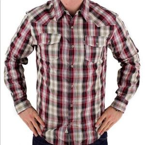 Levi's Red/Brown Plaid Western Pearl Snap Shirt M